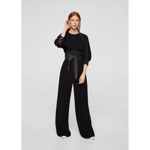 MANGO Black Contrast Seam Jumpsuit - Small